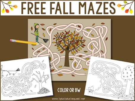 Fall Mazes for Kids