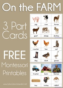On the Farm Montessori Printables Nomenclature 3 Part Cards