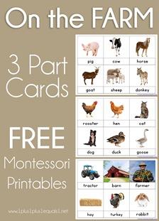 On the Farm Montessori Printables Nomenclature 3 Part Cards