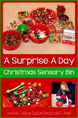 A Surprise a Day Christmas Sensory Bin