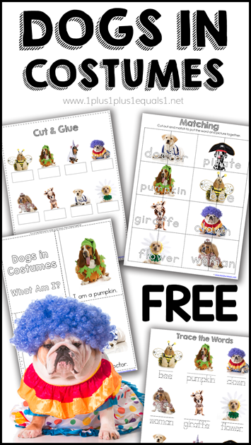 Dogs in Costumes Printable Pack