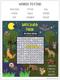 Nocturnal Animals Printables (5)