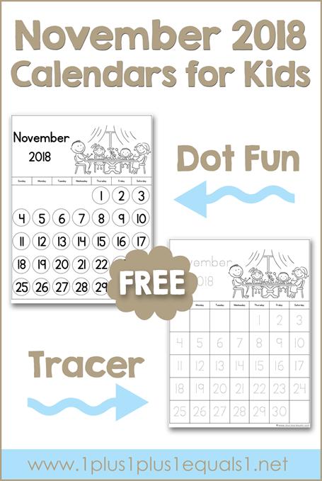 November Printable Calendars for Kids