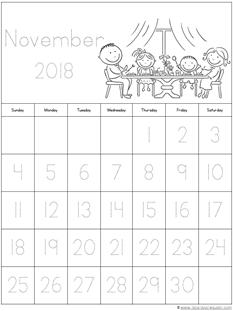 Nov. 2018 Calendars for Kids