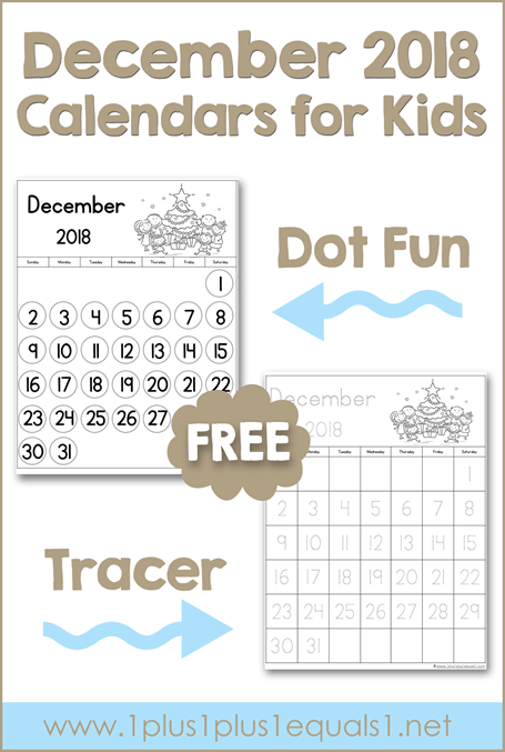 December Printable Calendars for Kids