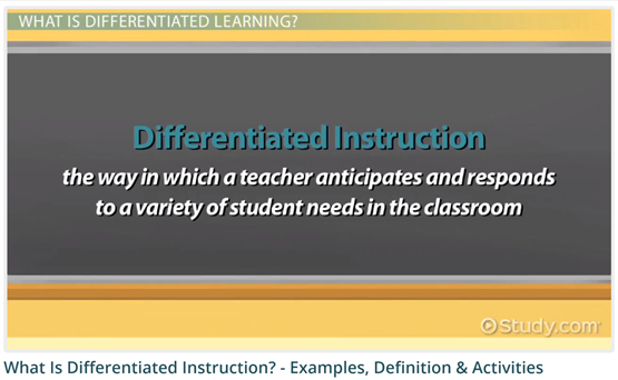 Differentiated Instruction Video from Study.com