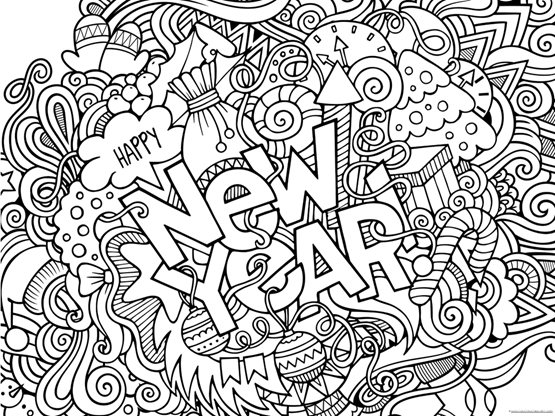 Happy New Year 2019 Coloring Pages - 1+1+1=1