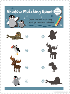 Arctic Animal Shadow Matching Printable