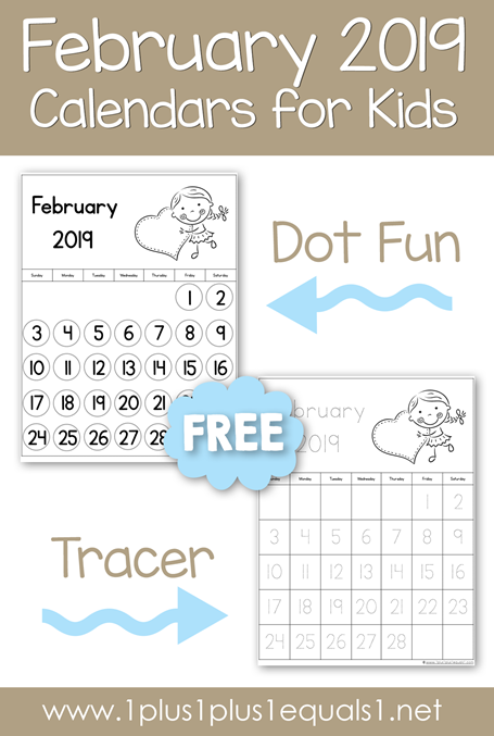 February 2019 Printable Calendars for Kids