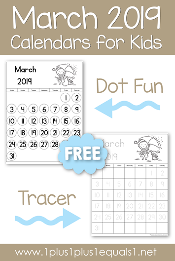 March 2019 Printable Calendars for Kids