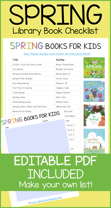 Spring Book Editable Library Checklist