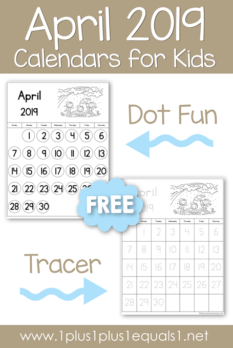 April 2019 Printable Calendars for Kids
