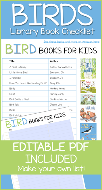 Bird Book Editable Library Checklist