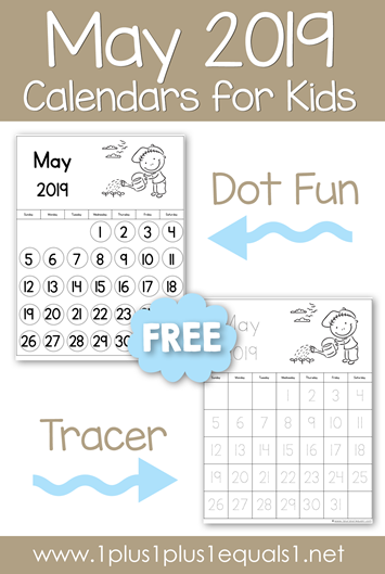May 2019 Calendars For Kids 1 1 1 1