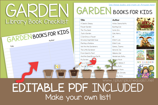 Garden Books Editable Book Checklist