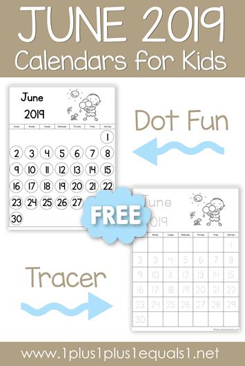 June 2019 Printable Calendars for Kids