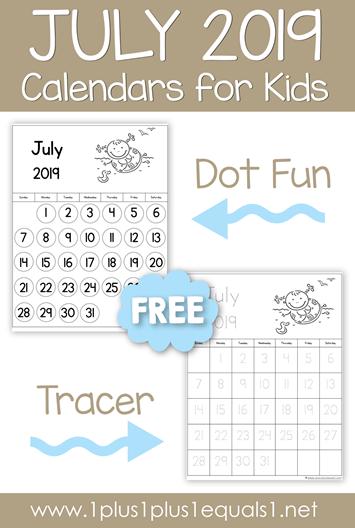 July 2019 Printable Calendars for Kids