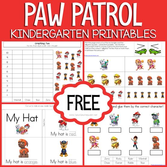 Paw Patrol Kindergarten Printables