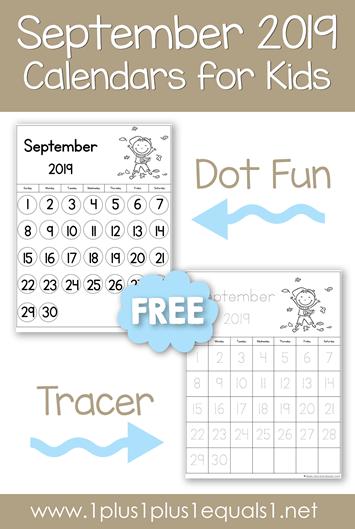 September 2019 Printable Calendars for Kids