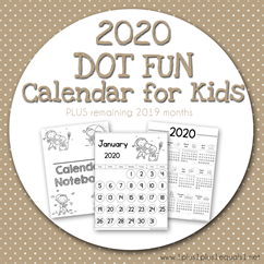 2020 Dot Fun Calendar for Kids