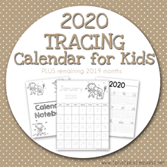 2020 Tracing Calendar for Kids