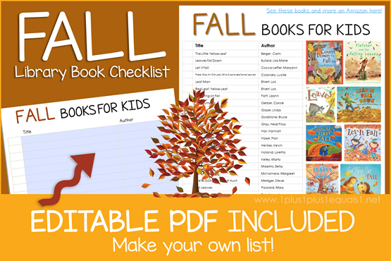 Fall Books Editable Book Checklist
