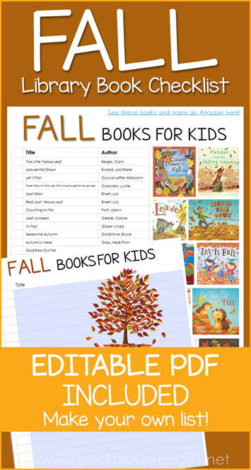 Fall Books Editable Library Checklist
