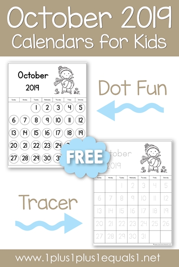 October 2019 Printable Calendars for Kids