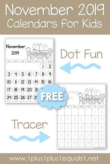 November 2019 Printable Calendars for Kids