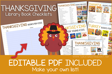 Thanksgiving Books Editable Book Checklist