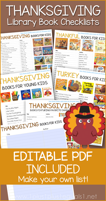 Thanksgiving Books Editable Library Checklist