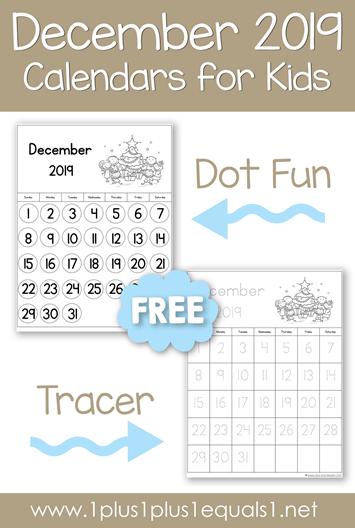 December 2019 Printable Calendars for Kids