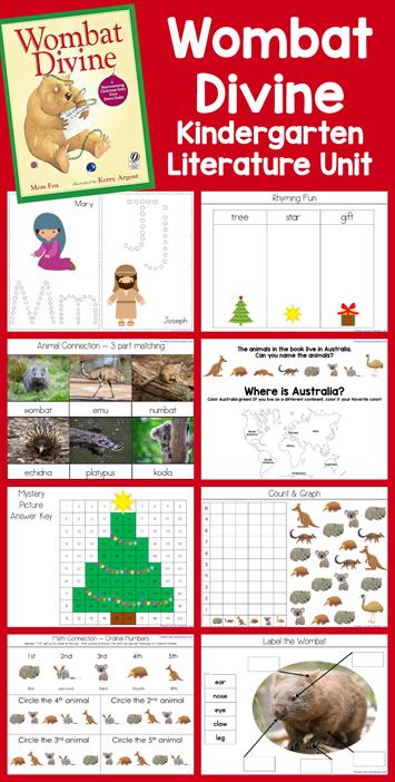 Wombat Divine Kindergarten Literature Unit Printables