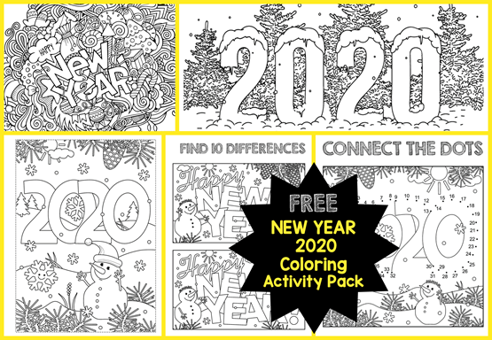 2020 New Year Coloring Activity Pack