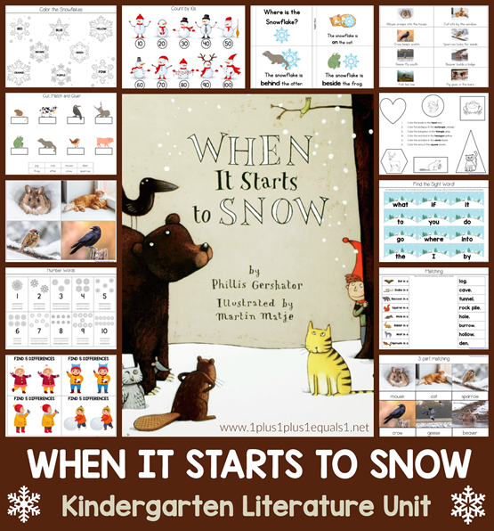 When It Starts to Snow Kindergarten Literature Unit