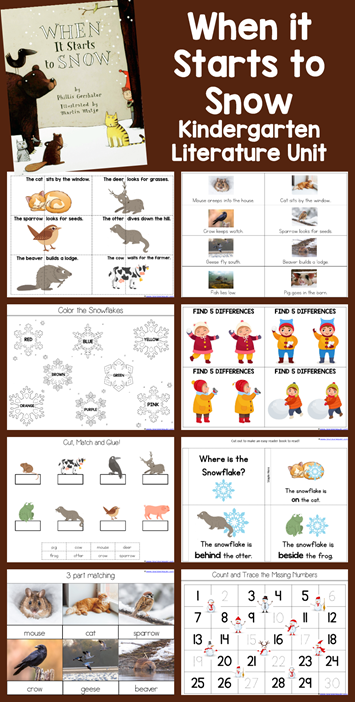 When it Starts to Snow Kindergarten Literature Unit Winter