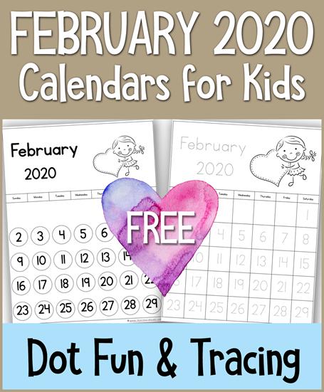 February 2020 Calendars for Kids