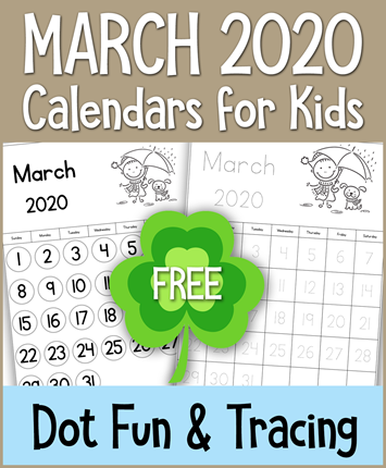 March 2020 Calendars for Kids