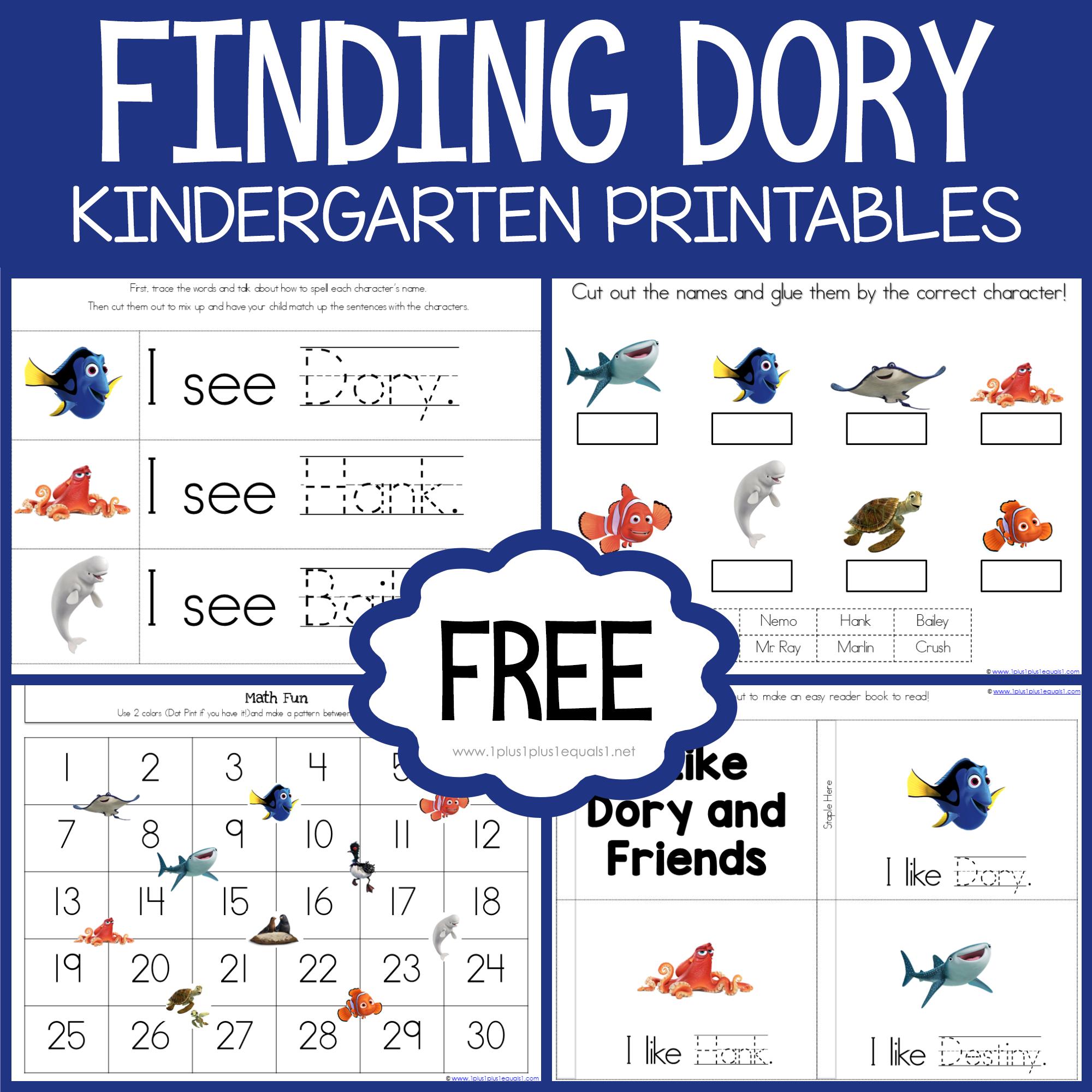 Finding Dory Kindergarten Printables 1 1 1 1