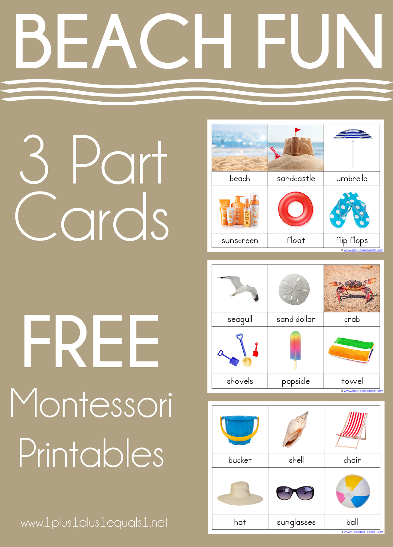 Beach Montessori Printables - FREE 3 Part Cards - 1+1+1=1