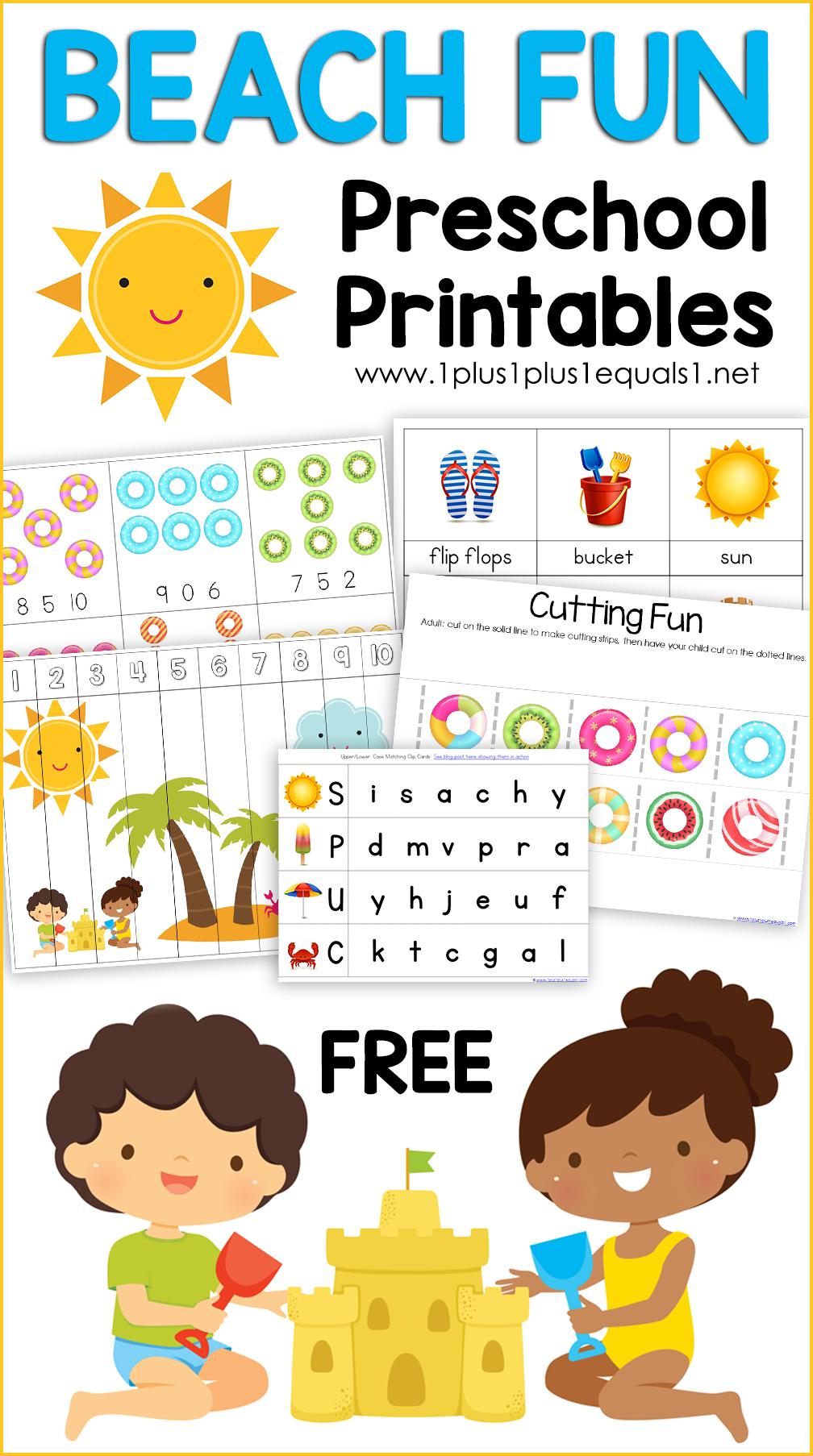 Beach Kindergarten Worksheets